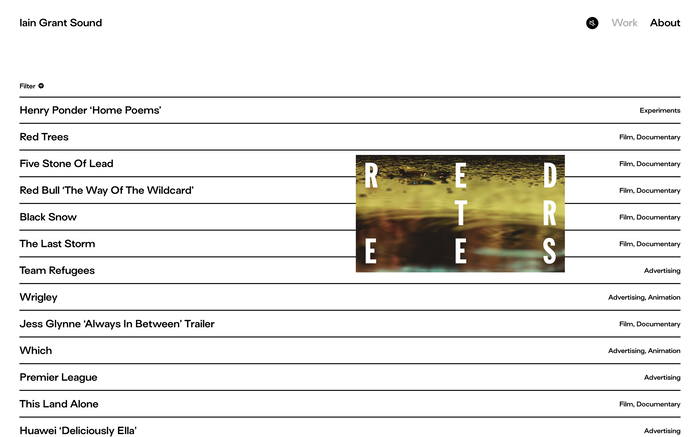Iain Grant Sound portfolio website 4