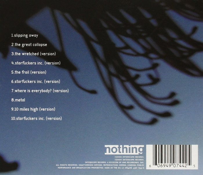 CD back cover with track list (uncensored). Of course the numbered list is not aligned to the dot, and has no space before the title.
