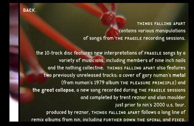 Screenshot from thingsfallingapart.com, a website made to promote the release of the album. Index is here used with its small caps, a feature that was still pretty uncommon for sans-serif typefaces at the time.