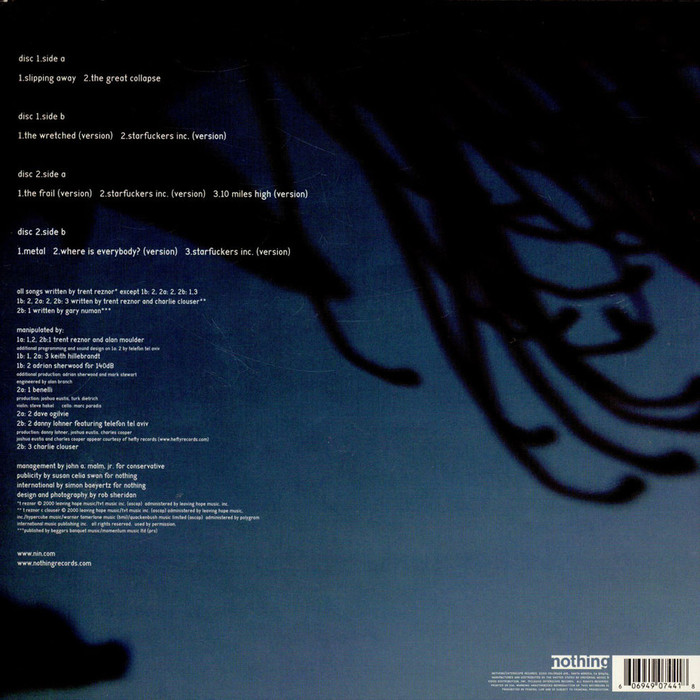 Back cover of the double LP with track list (uncensored).