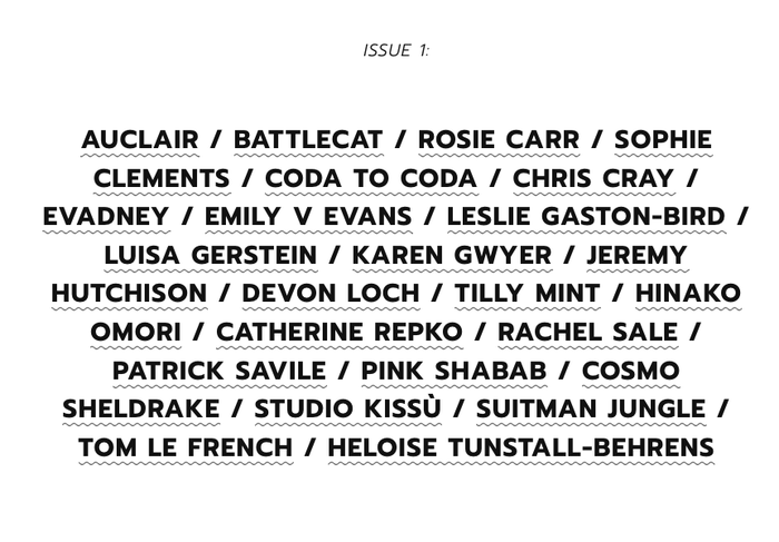 Website detail with the list of contributors to issue 1, in caps from .