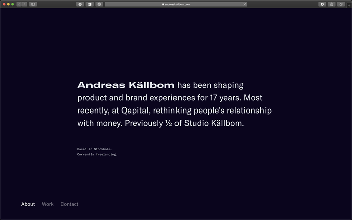 Andreas Källbom portfolio website 1