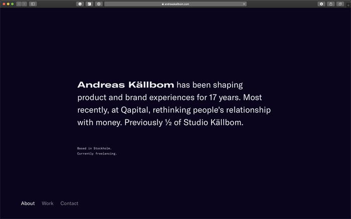 Andreas Källbom portfolio website 1