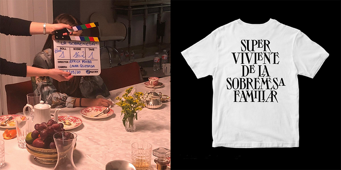 """Left: production shot. Right: a T-shirt, produced as a part of the crowdfunding. The shirt says: """"I am a survivor of a long family lunch talk""""."""