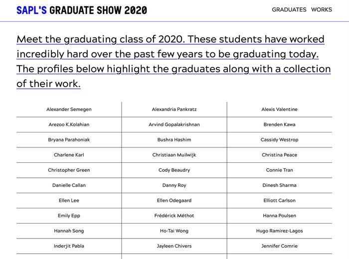 SAPL's graduate show 2020 website 2