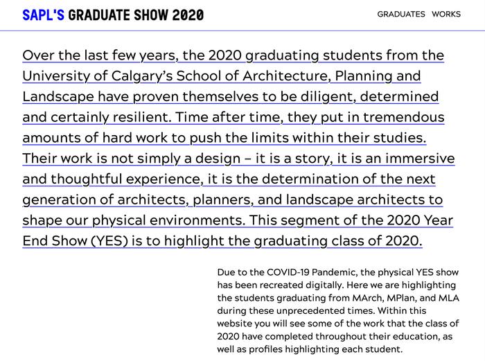 SAPL's graduate show 2020 website 1