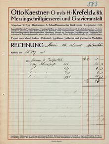 Otto Kaestner GmbH invoice and product catalog