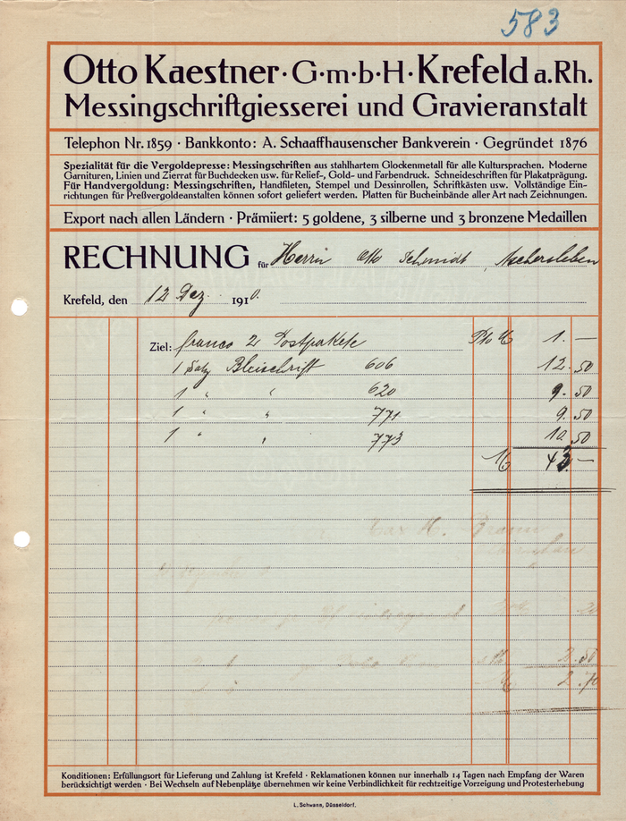 """Otto Kaestner G.m.b.H. Krefeld a. Rh. Messingschriftgiesserei und Gravieranstalt invoice. Probably printed by an """"L. Schwann"""" in Düsseldorf. While the invoice does not include a date of printing on it, this particular invoice was issued to a customer on 12 December 1910. The invoice was typeset in various sizes of Peter Behrens's Behrens-Antiqua typeface, produced by Gebr. Klingspor in Offenbach am Main."""
