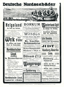 """Deutsche Nordseebäder"" ads in <cite>Reclams Universum </cite>(1909)"