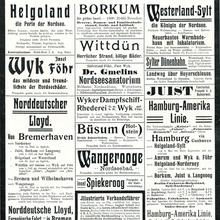 """Deutsche Nordseebäder"" ads in <cite>Reclams Universum </cite>(1909)"