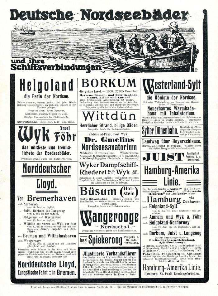"""""""Deutsche Nordseebäder"""" ads in Reclams Universum (1909) 1"""