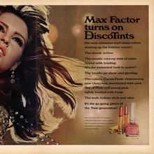 """Max Factor tuns on the DiscoTints"" ad"