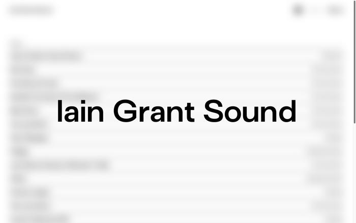 Iain Grant Sound portfolio website 1