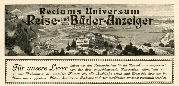 Head of the Reise- und Bäder-Anzeiger with lettering modeled after , including a fancy highlight version. The smaller text is set in -Circular, an italic with swash caps that was part of Berthold's recutting of .