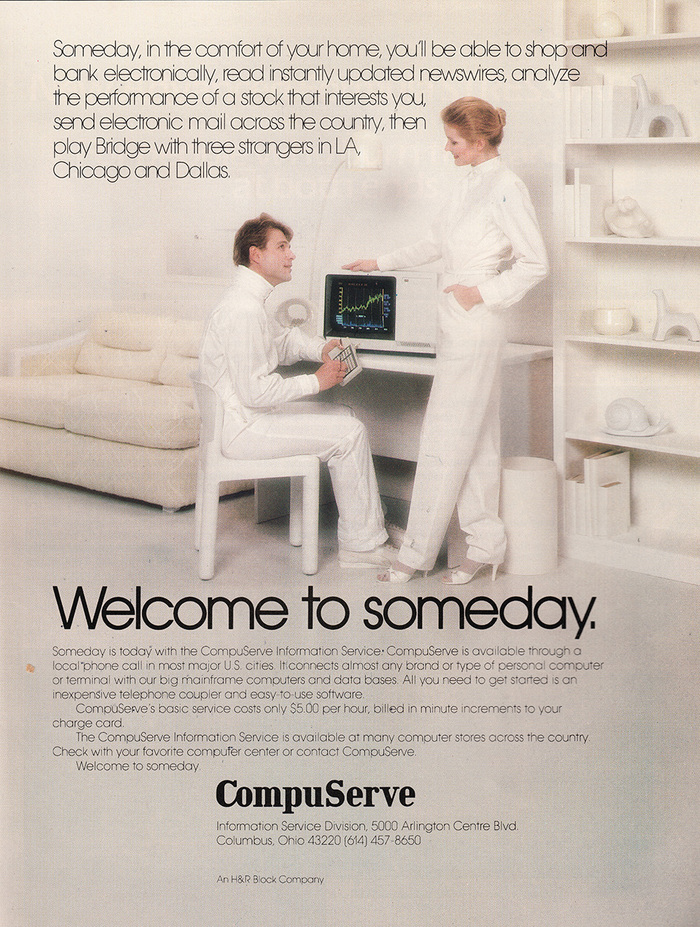 """CompuServe Ad (1982): """"Welcome to someday."""""""
