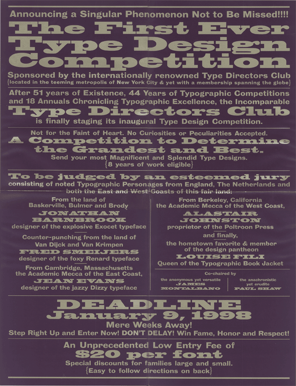 TDC Type Design Competition: Call for Entries (1998)