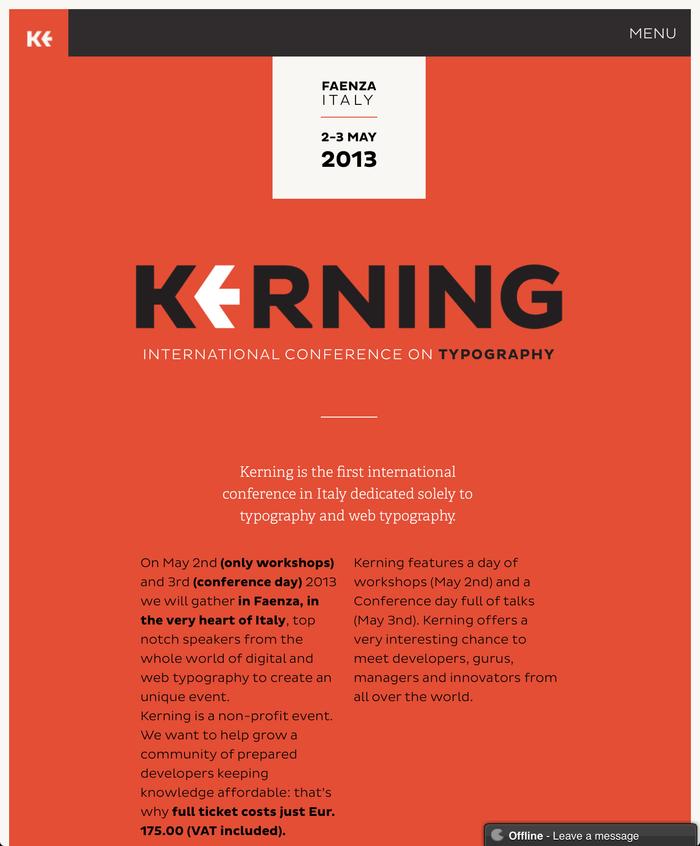 Kerning Conference, Faenza (I), 2–3 May 2013 1