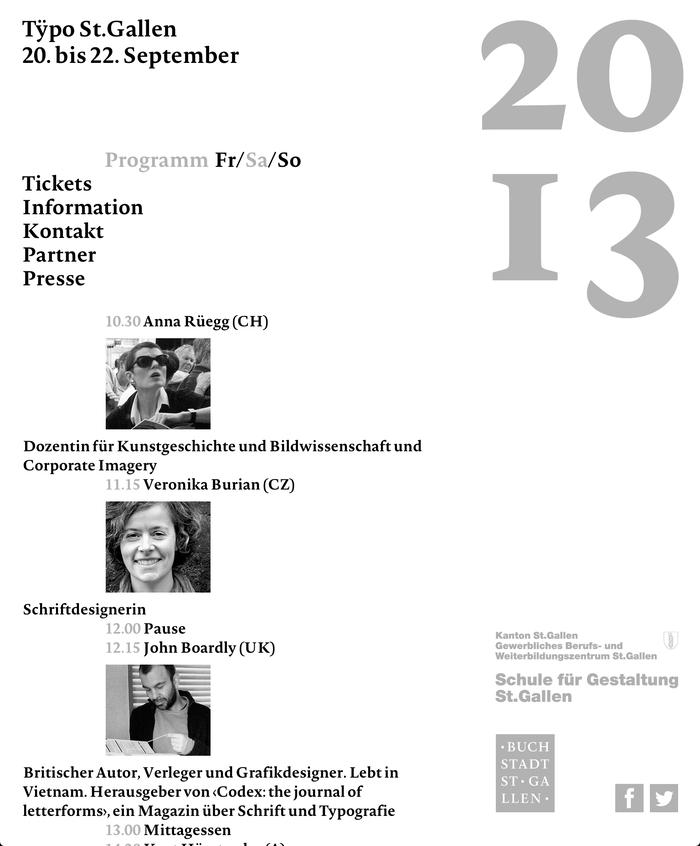 Tÿpo St.Gallen – Weissraum, St.Gallen (CH), 20–22 September 2013 2