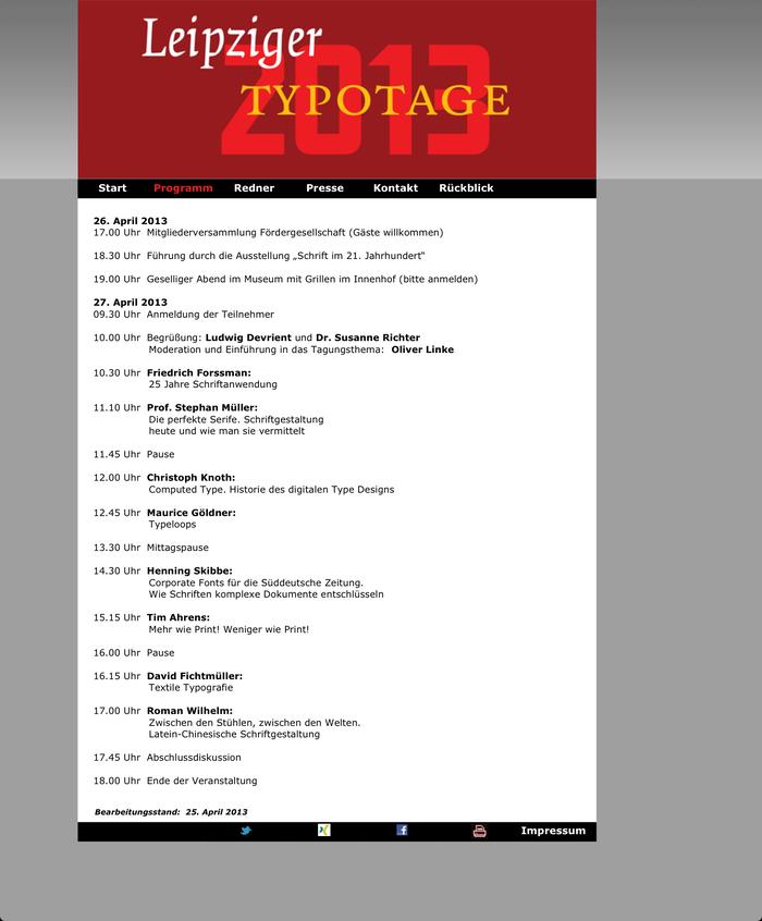 Leipziger Typotage 2013 –Schrift im 21. Jahrhundert, Leipzig (D), 27 April 2013 1