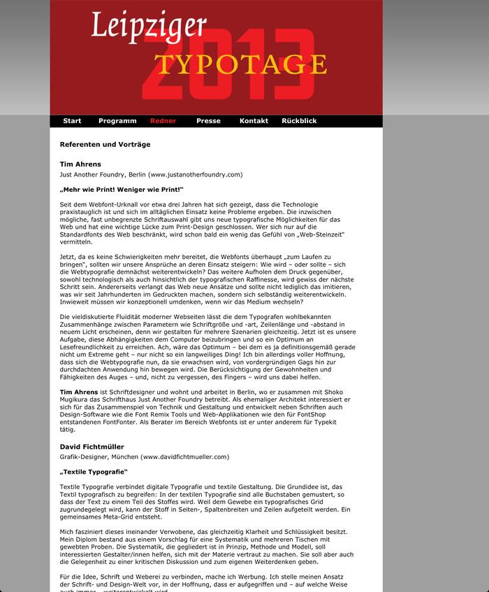 Leipziger Typotage 2013 –Schrift im 21. Jahrhundert, Leipzig (D), 27 April 2013 2
