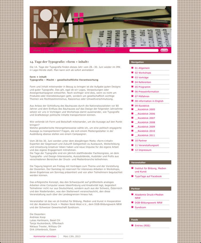 Tage der Typografie – form+inhalt, Lage-Hörste (D), 28–30 June 2013 1