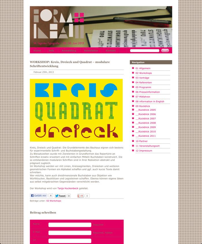 Tage der Typografie – form+inhalt, Lage-Hörste (D), 28–30 June 2013 2