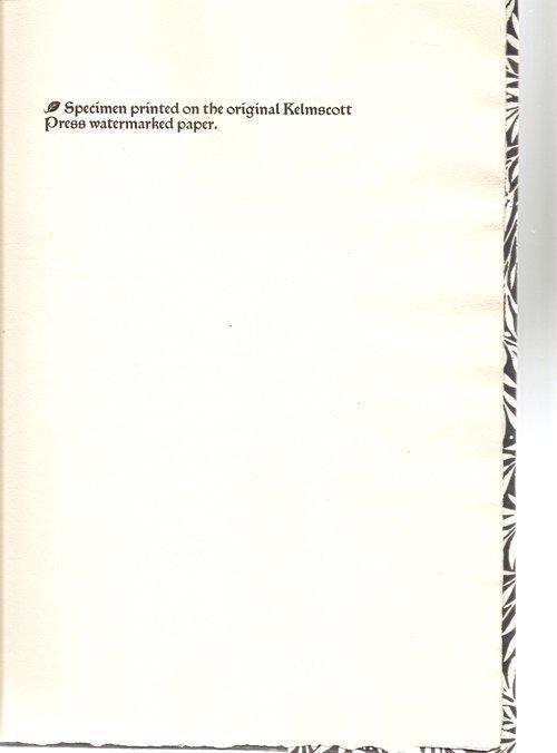 Specimen Pamphlet of Kelmscott Press Paper 2