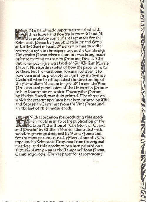 Specimen Pamphlet of Kelmscott Press Paper 3