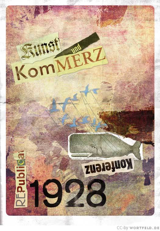The 1928 poster is a nod to Kurt Schwitters and his MERZ collages, with a mix of Wilhelm-Klingspor-Gotisch, Akzidenz-Grotesk, some more Rennie Mackintosh, Block, Futura – and Adobe Garamond (1989).