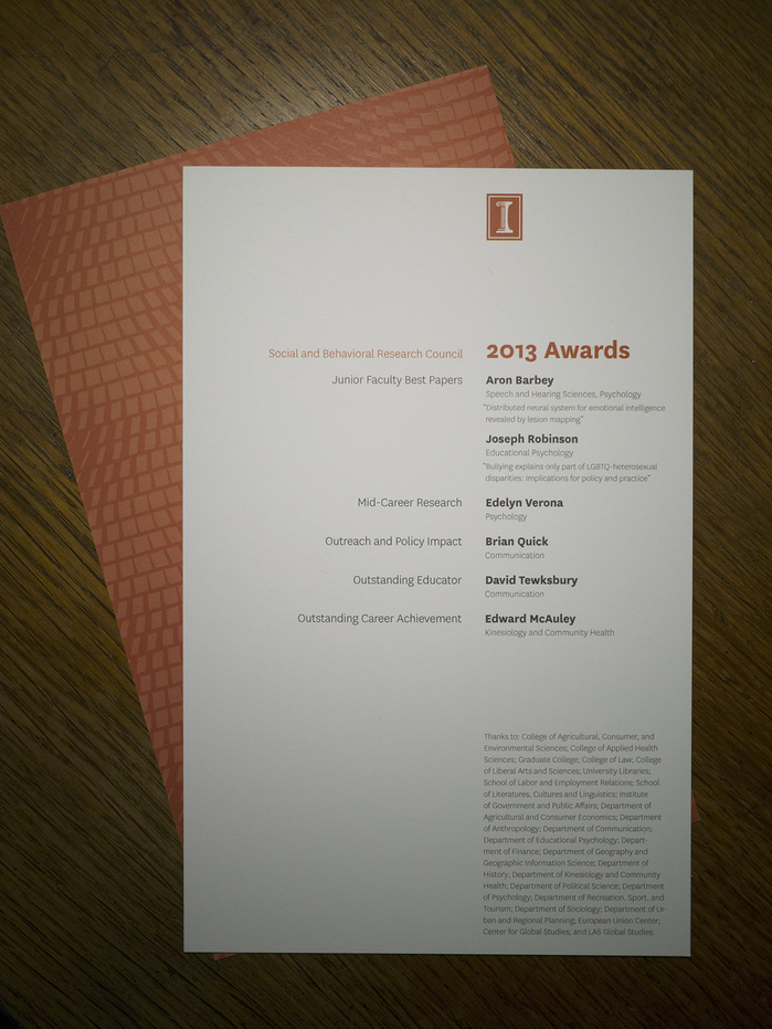 University of Illinois Social and Behavioral Research Council Awards 2013 Program 2