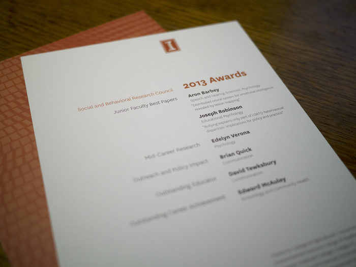 University of Illinois Social and Behavioral Research Council Awards 2013 Program 3