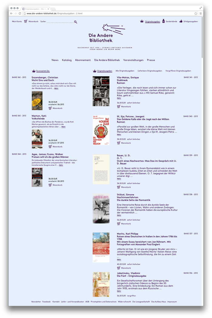 Die Andere Bibliothek website 1