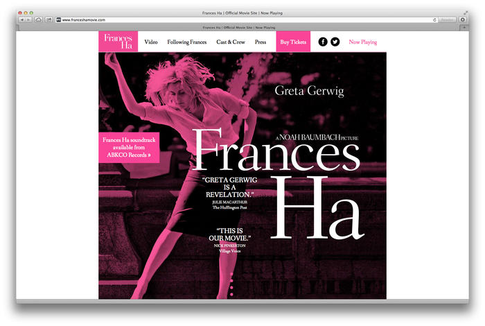 Frances Ha Poster and Website 1