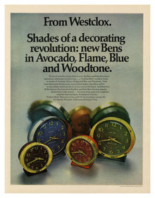 """Shades of a decorating revolution"" Westclox ad"