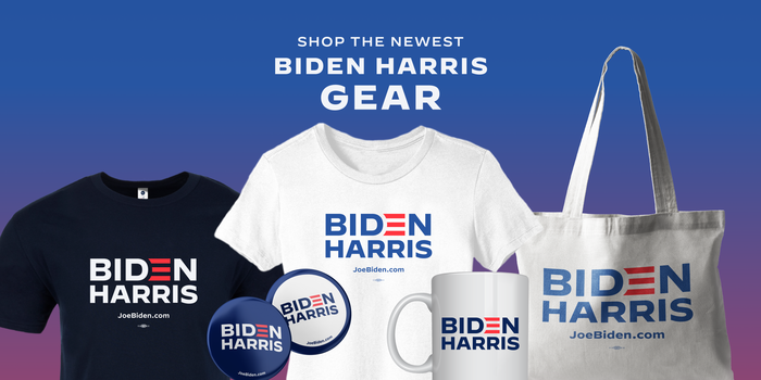 Biden Harris merch including T-shirts, buttons, mugs, and tote bags.