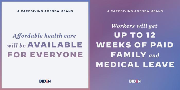Social media cards explaining the caregiving agenda, featuring all-caps Decimal and Mercury Bold Italic.