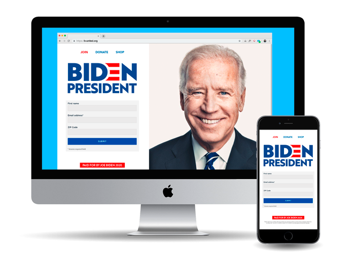 Earlier version of the campaign website.