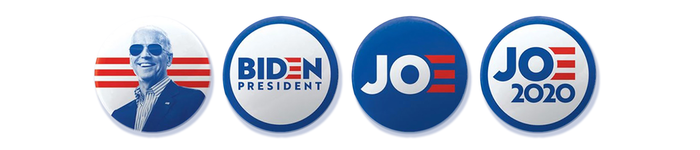 "Buttons with ""Biden President"" and ""Jo 2020"" logo variants."