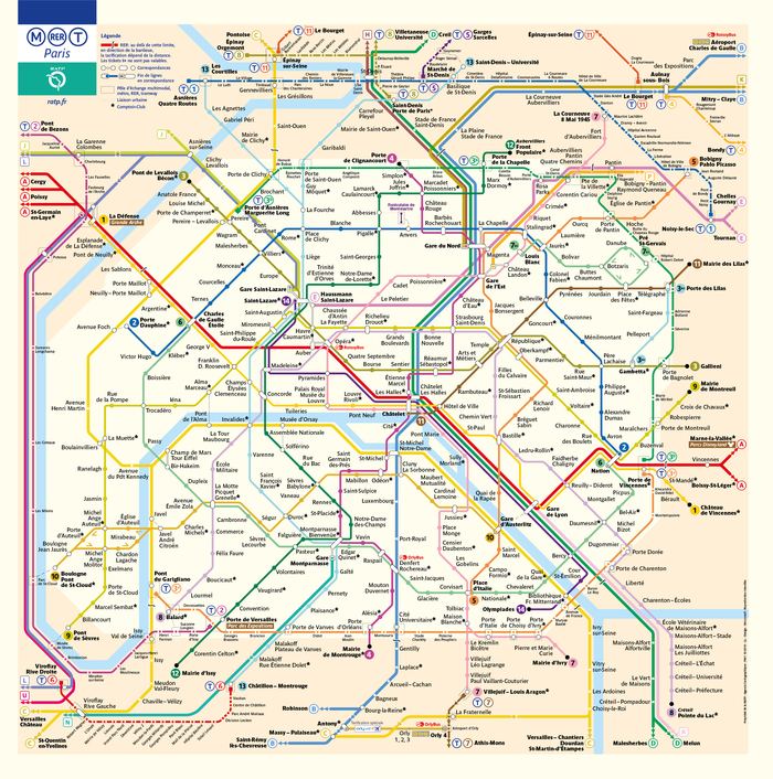 Diagram of the metro, RER, bus, and tramway lines.