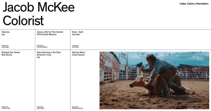 Jacob McKee portfolio website 1