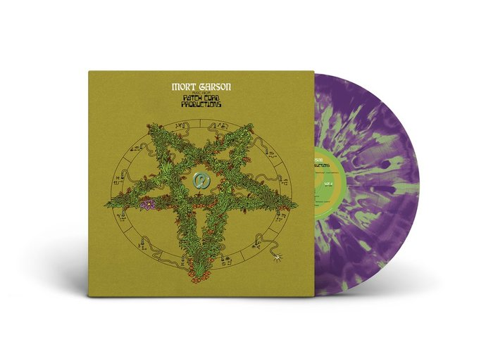 An appropriately psychedelic purple-and-green disc.