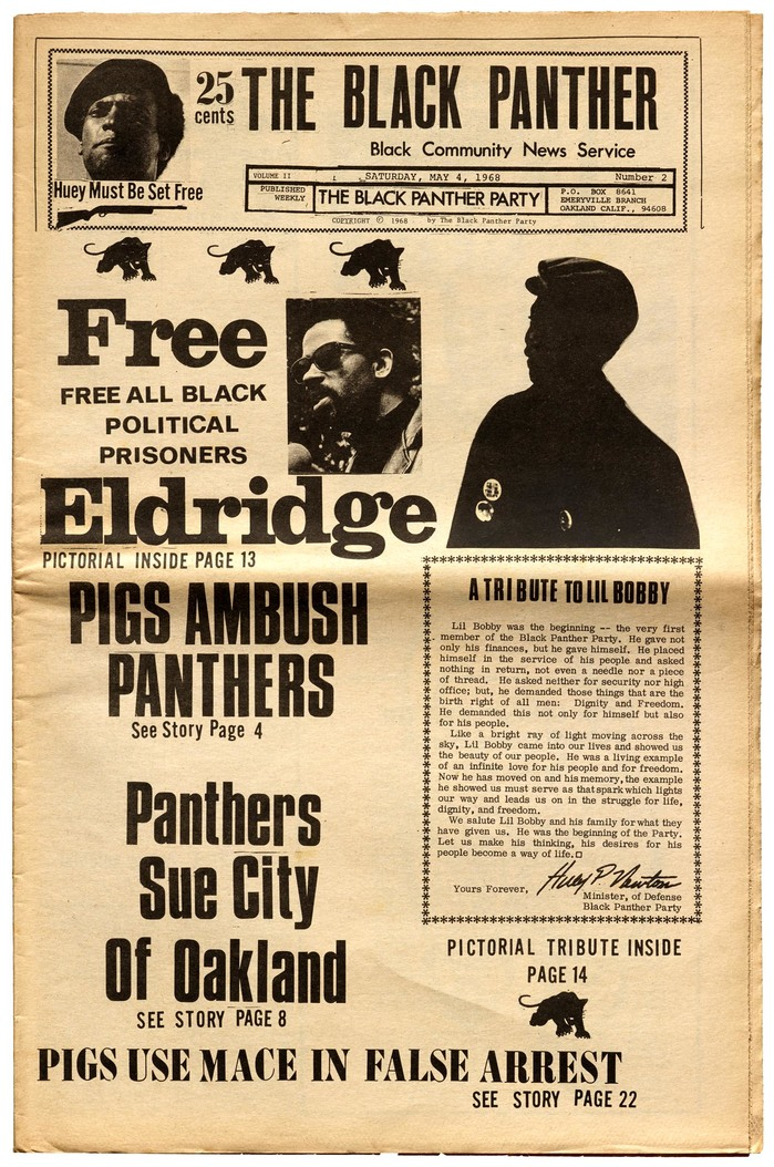 Douglas typically kept font styles to a minimum, but this Black Panther cover explodes with , , , Clarendon, , and . The tribute to Bobby Hutton is set on an IBM typewriter using .