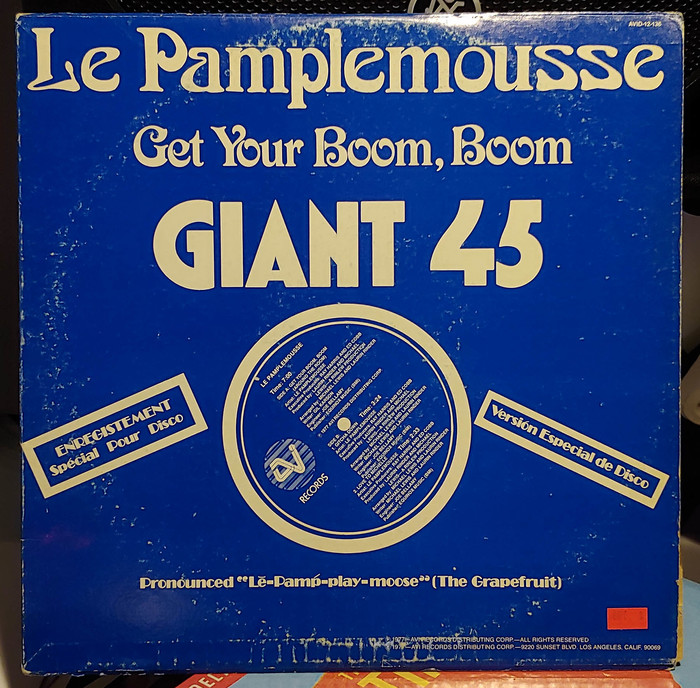 """Le Pamplemousse – """"Get Your Boom, Boom"""", featuring  and a phototype version of  (redesigned at Letraset with slightly different forms as ). The smaller bits are in ."""