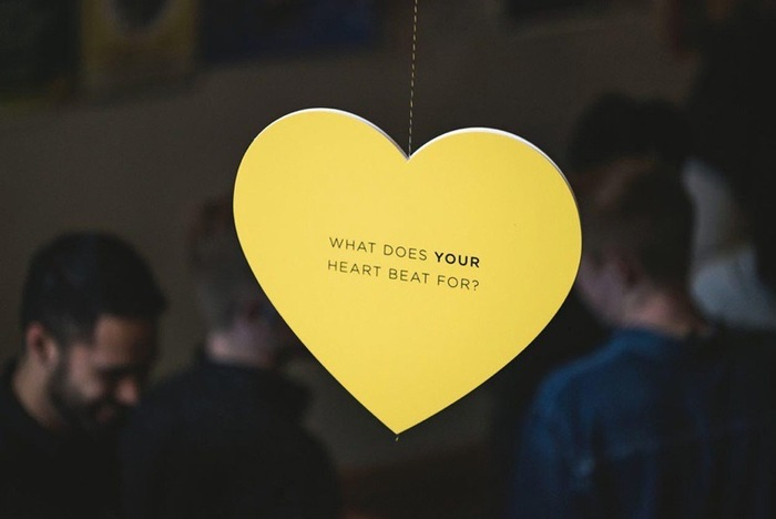 """""""What does your heart beat for?"""" hanging hearts display 1"""