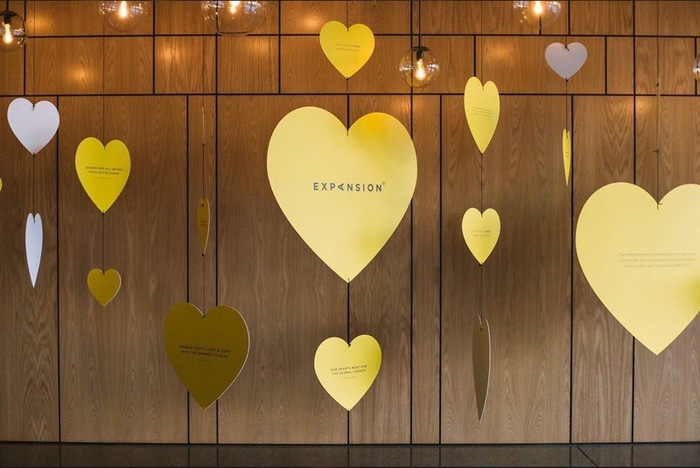 """""""What does your heart beat for?"""" hanging hearts display 3"""