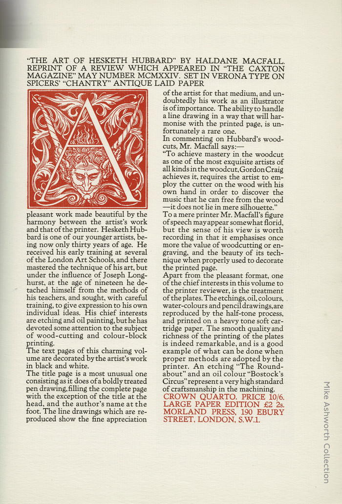 Broadsheet advert for The Art of Hesketh Hubbard by Haldane Macfall