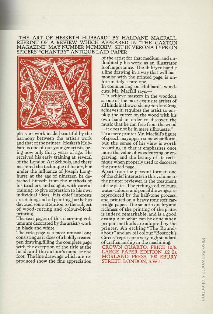 Broadsheet advert for The Art of Hesketh Hubbard by Haldane Macfall