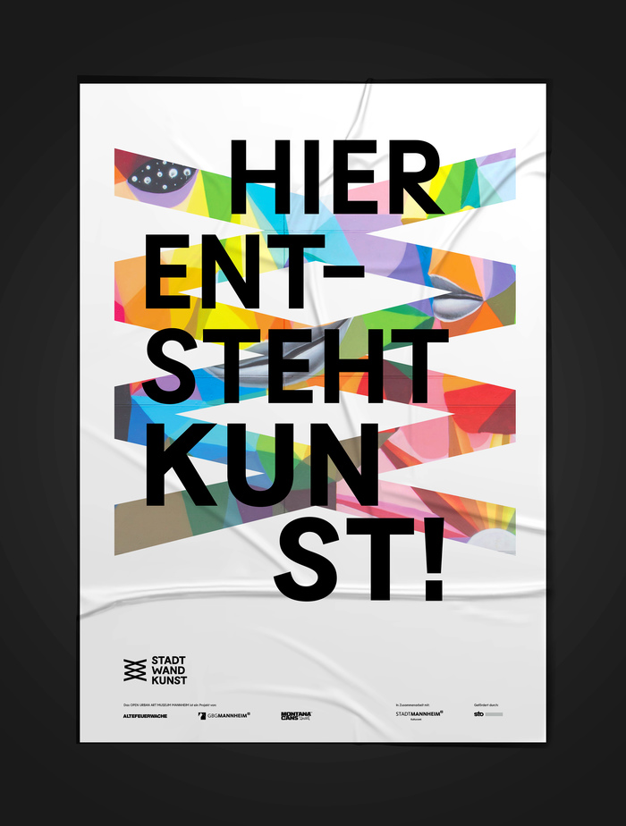 Display poster to mark the location for Live paintings © Gestaltung Mannheim / Juliane Gutschmidt