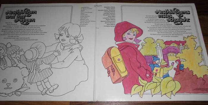 The gatefold has an outlined version of the cover illustration, allowing the listeners to color it in themselves – an opportunity that the owner of this copy happily seized (at least for the right half).