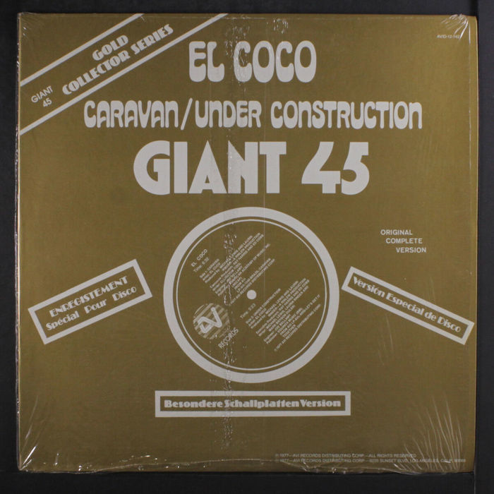 """El Coco – """"Caravan"""" / """"Under Construction"""" uses  AKA Vigus. In addition to Broadway, there's also  for """"Besondere Schallplatten Version"""" and """"Gold Collector Series"""". The small """"Giant 45"""" in the top left corner shows ."""